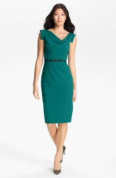 The quintessential lawyer dress -- Black Halo Jackie Belted Gabardine Sheath Dress | Nordstrom