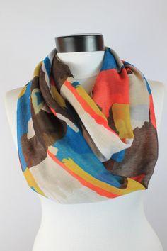 brown scarfmixed scarfInfinity scarfsoft scarfboho by twobirdsgirl Loop Scarf, Circle Scarf, Esty, Womens Scarves, Boho, Awesome, Fashion, Moda