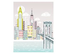 New York Print, Brooklyn Bridge Skyline Wall Art, American Cityscape, Christmas Gift, City, Kids room and Nursery Decor, Style: SPPNYBB1  This New York inspired Giclee Art Print is an original illustration done by me that I have digitally coloured and tweaked.  Printed with pigment inks on archival matte paper.  *** Size information ***  You can choose for the image size to be either 5x7 | 8x10 | 8 x11.5 inches. I print all sizes on my 8.2x11.5 (A4) paper. These sizes are designed to fit…