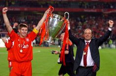 Liverpool Captain Steven Gerrard and Manager Rafael Benitez lift the 2005 Champions League trophy in the Ataturk Stadium in Istanbul. Liverpool Captain, Fc Liverpool, Liverpool Football Club, Football Team, Chelsea Football, Liverpool Champions League 2005, Liverpool Fc Champions League, Steven Gerrard, Liverpool You'll Never Walk Alone