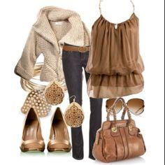 light brown & jean combo