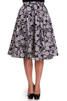 Hell Bunny Rock Love Death Do Us Part Skull Rose Anchor Black White Circle Skirt