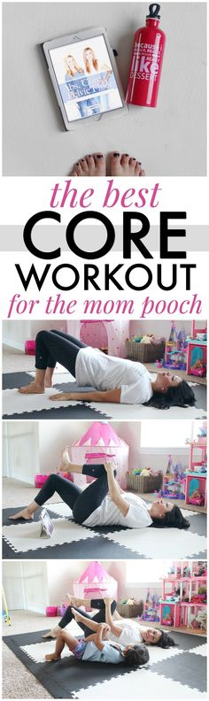 The best core workout for the mommy pooch, also known as Diastasis Recti. A great 30 day at-home workout series and program by Natalie Hodson and Dr. Middlekauff to get your abdomen back in shape! #AbsCorePelvicFloor #Pmedia #ad