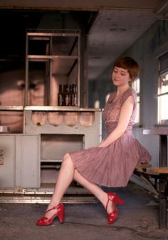 modcloth:    Rebecca of The Clothes Horse in a beautiful lavender dress.