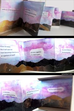 The Letters Book Box, Side Miriam Barr, 2017 Poetry Art, Poetry Books, Book Boxes, Accordion Book, Blackout Poetry, Book Letters, Ink Wash, Handmade Books, Book Binding