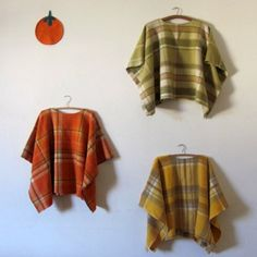 Recycle old blankets into delightful warm ponchos.