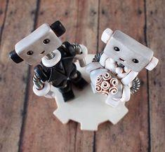 Robot Wedding Cake Topper READY TO SHIP Cute Bots Light Rustic