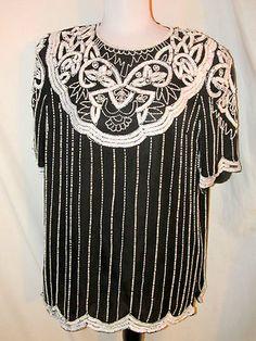 SZ 1X Jewel Queen Evening Top Black White Sequins, Beads, Pearls Short Sleeves