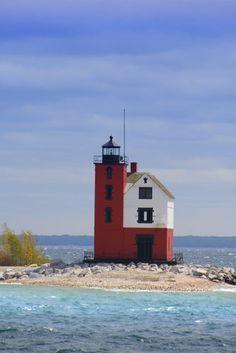 Historic light house at Round Island.