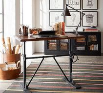Pottery Barn - Fall 2016 Catalog - Pittsburgh Crank Sit-Stand Desk, Vintage Chestnut
