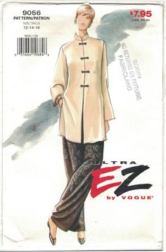 Tunic Pattern, Pants Pattern, Vintage Sewing Patterns, Clothing Patterns, Paper Patterns, Vintage Vogue, Fashion Vintage, Vogue Patterns, Mandarin Collar