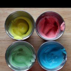 Edible finger paint for kids.... Plain yogurt and gel food color