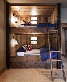 Rustic Bedroom at the Lake House Cabin - This looks like so much fun for the kids!