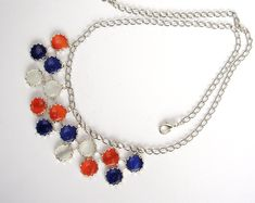 Double row glass necklace - sailor style, red, blue, white, cat's eye glass