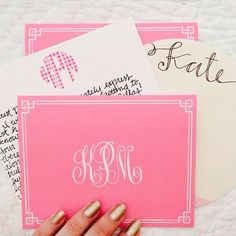 Draw the name to the right, scan & print yourself. Also with monogram in black on pale pink paper.