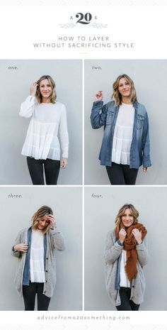 how to layer without sacrificing style, outfit layering ideas, white blouse, chambray shirt, oversized cardigan, Free People, Urban Outfitters, rust colored scarf, fall outfit ideas