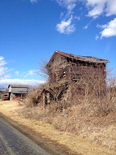 Tobacco barn in Franklin County, Va. Tobacco Pit on left (Jack's Mountain Rd., Glade Hill, Va.)