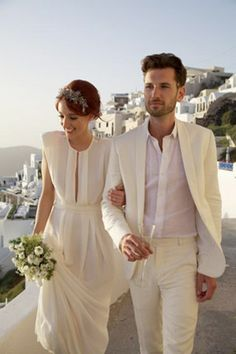 white relaxed modern grooms suit - brides of adelaide