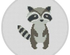 Hipster Racoon Cross Stitch Pattern for baby nursery by Xrestyk
