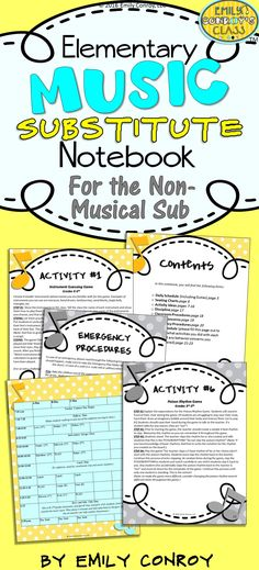 This music sub notebook is great for substitutes with no musical background! The plans contain musical activities that are simple enough for a non-musical sub to implement along with a daily schedule page, welcome letter, classroom procedures, and other helpful instructions for your sub!