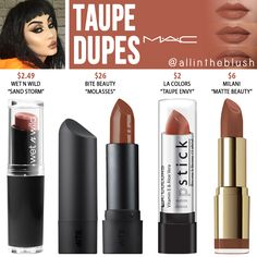 MAC Taupe Lipstick Dupes - All In The Blush - bettybence. - - MAC Taupe Lipstick Dupes – All In The Blush – bettybence. Dupes Nyx, Mac Cosmetics Lipstick, Drugstore Makeup Dupes, Beauty Dupes, Makeup Swatches, Beauty Makeup, Lipstick Mac, Brown Lipstick, Purple Lipstick