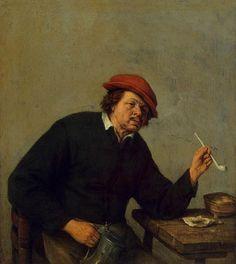 Adriaen van Ostade - 1610 - 1685, 1655 Smoker - Oil on panel / 18 x 16 cm /