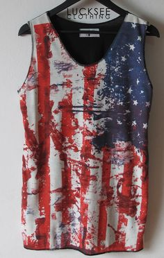 red and white tank tops | Red White And Blue / American Flag Shirts Women Tank Top Red White ...