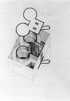 Claes Oldenburg, Plan for a Small Museum in the Shape of a Geometric Mouse, 1972