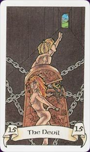 The Devil - Robin Wood Tarot - use of perspective; dragging, falling, descending.