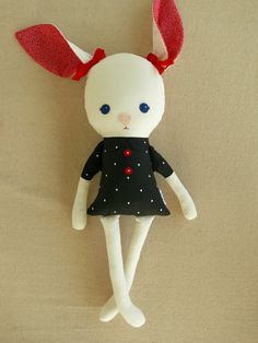 Fabric Doll Rag Doll Stuffed Rabbit Toy by rovingovine on Etsy, $30.00