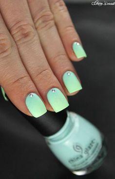 awesome 17 Fashionable Mint Nail Designs for Summer - crazyforus - Pepino Nail Art Design
