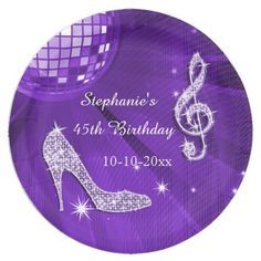 Purple Disco Ball and Heels 45th Birthday Paper Plate  sc 1 st  Pinterest & Purple Disco Ball and Heels 50th Birthday Paper Plate | Disco ball ...