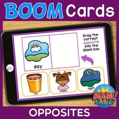 THIS IS AN INTERACTIVE DIGITAL RESOURCE. Download the preview to play a shortened version of the Boom Deck – this will help you decide if the resource is suitable for your students. ABOUT THIS BOOM DECK: Students will look at the pictures and words and drag the opposite picture/word into the blank box.  Understanding the concept of opposites is important as it helps a child to learn how to compare two different things and to develop a more concrete understanding of a specific concept.