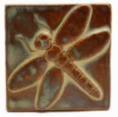 "Dragonfly 4""x4"" Ceramic Handmade Tile - Autumn Glaze  Emu Handmade Tile"