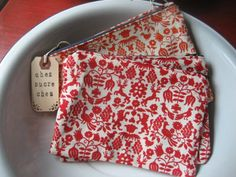 Folk Print Zippered Pouches.