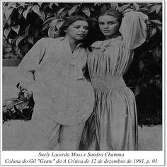 """Suely Lacerda Moss e Sandra Chamma. Coluna do Gil """"Gente"""" do A Crítica de 12 de dezembro de 1981."""