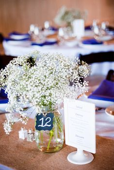 Baby's Breath Centerpiece with Chalkboard Table Number @Martha Clara Vineyards @W Studios New York