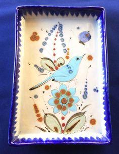 Signed Ken Edwards Pottery Tray Blue Bird Flower Butterfly El Palomar Mexico