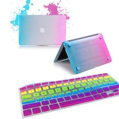 "RainBow Color Rubberized Hard Case keyboard Cover Screen For Macbook Air 11"" 13"""