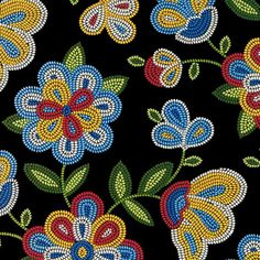 Tucson Beaded Flowers Black by Elizabeth's Studio Cotton Quilting Fabric Yardage Native Beading Patterns, Beadwork Designs, Bead Loom Patterns, Beaded Embroidery, Embroidery Patterns, Embroidery Bracelets, Beaded Moccasins, Cotton Quilting Fabric, Dot Painting