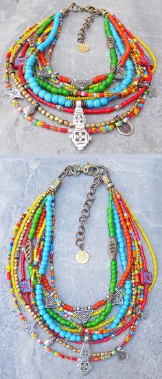 Exotic and Colorful Bohemian Tribal African Trade Bead Choker Necklace - new season bijouterie Jewelry Tags, Boho Jewelry, Beaded Jewelry, Jewelery, Beaded Bracelets, Bohemian Necklace, Jewelry Ideas, Jewelry Accessories, Jewelry Necklaces