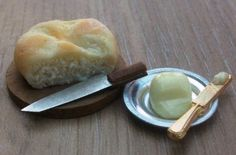 Dolls house miniature food Farmhouse Uncut Bread with Butter