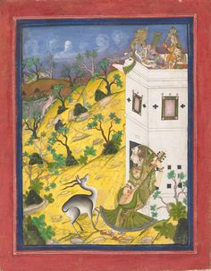 In the foreground, a female musician sits before a hunting tower playing a sitar, while an antelope stands transfixed before her by the music. From the turret of the tower, Krishna gestures toward a leopard retreating over the horizon. The scene is in a typical Rajasthan rocky landscape filled with stunted trees, a favored setting for Kota court paintings.