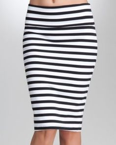 bebe Midi Stripe Knit Skirt