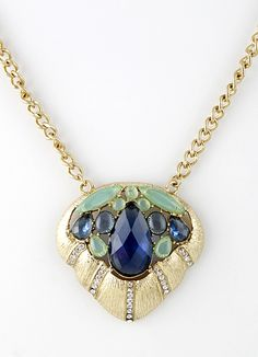 Blue Gemstone Gold Heart Chain Necklace US$7.83