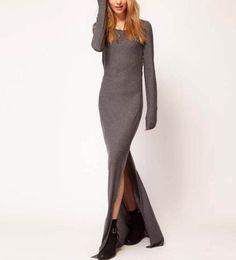$50 Dark Gray Long Sleeve Slit Side Slim Maxi Dress @ MayKool.com