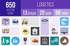 650 Logistics Icons by IconBunny on @creativemarket
