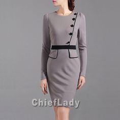 Custom Made Autumn Dress Grey Camel Color Clothing 2014 Chic Office Dress Elegant Outfits Women Working Dresses Chieflady CD83 on Etsy, $96.00