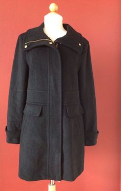 NWT! COLE HAAN SIGNATURE Women's Black Wool Blend Coat Size 8 NEW MSRP $325 #ColeHaan #BasicCoat