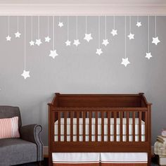 Hanging Stars - Nursery and Kid's Room Shapes Wall Decals by SweetumsSignatures on Etsy https://www.etsy.com/listing/170909118/hanging-stars-nursery-and-kids-room
